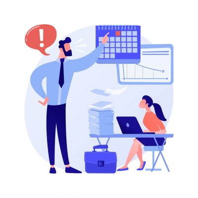 Work pressure abstract concept vector illustration. Stress management, work overload, chronic anxiety, physical health, emotional tension, deadline pressure, employee wellbeing abstract metaphor.